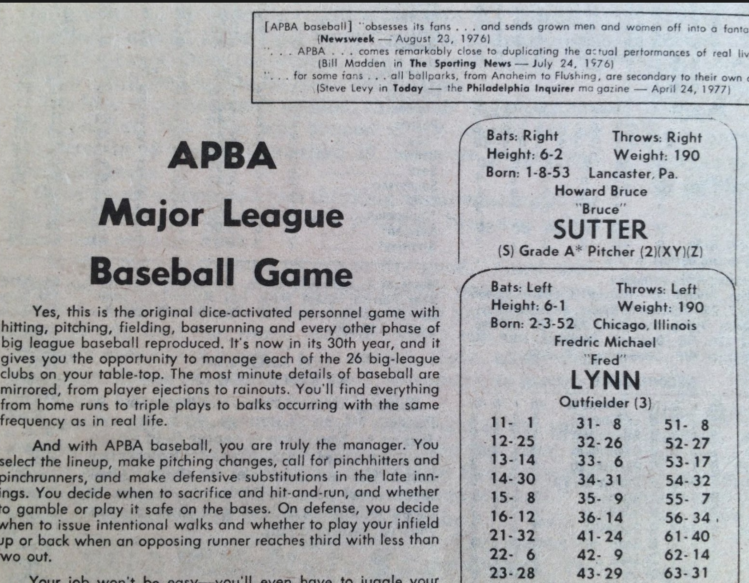Cards And Dice More Than A Game Apba Baseball Connecting The